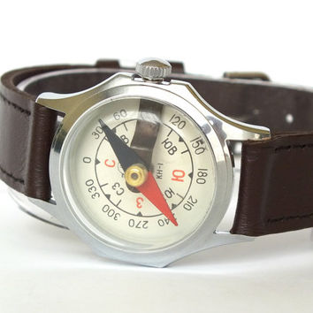 Vintage Compass. Wrist Compass In Watchs Case. NOS Soviet Compass Made By Chistopol Watch Factory Molnija 80s.
