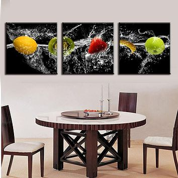 WJJ New Modern 3 Pieces Painting On Canvas Delicious fresh fruit Dining Room decoration oil painting pictures decor
