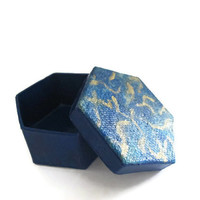 Hexagonal Gift Box for men hand painted in navy blue and metallic gold, decoupaged lid, mini decorative box, small trinket box