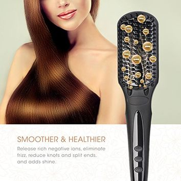 Hair Straightening Brush BearMoo Best Straightener Brush Ceramic Faster Heating MCH Technology, Double Anion, Anti-Scald Comb Teeth- Gift Packaging