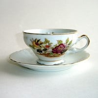 Vintage Teacup and Saucer, Porcelain or China, Gold Gilt Trim, White with Pink Yellow Flowers Tea Cup, Rose Teacup, Tea Party