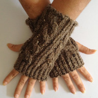 Fingerless Gloves Wrist Warmers in Chocolate Brown Cable Handknit
