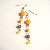 Yellow earrings, yellow dangle earrings, yellow beaded earrings, beaded earrings, dangle earrings, gift under 10, handmade jewelry.