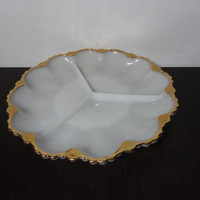 Vintage Anchor Hocking Fire King 3 Part Divided White Milk Glass Dish with Scalloped Edges and Gold Trim