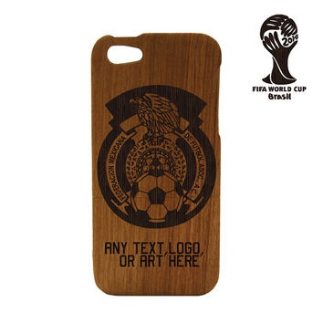 Wood iPhone 5 case - World Cup iPhone case Mexico Soccer Team - Mexico World Cup Natural Wood iPhone Case Engraved, Futbol , Brasil , Soccer