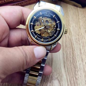 PEAP O003 Omega Hollow Automatic Mechanical Steel Watchaband Watches Black Gold
