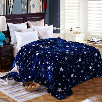 2016 fashion Galaxy design Blankets flannel soft Plaids twin full queen king size Throws blue/white color