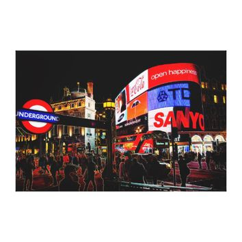 Fantasy Glowing Piccadilly In London At Night Canvas Print