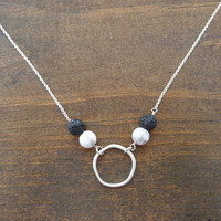 organic circle with howlite and lava beads necklace