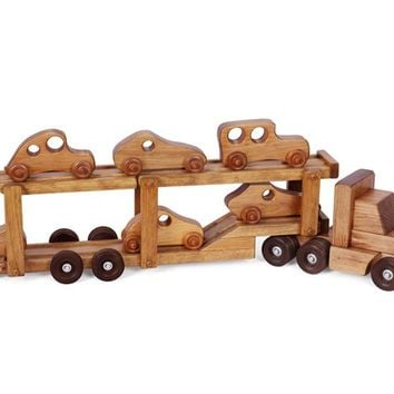 Wooden Truck w/ Car Carrier - w/ 6 Wooden Cars Toy for Kids