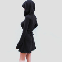 Brown Hoodie Dress / Party dress / Long Sleeve Dress