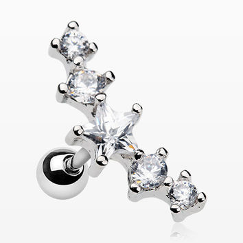 Sparkle Star Journey Cartilage Tragus Barbell