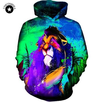 Unicomidea 2017 Autumn New Fashion Mens Hoodies Brand Sweatshirts 3D Print Lion Oil Paint Coat Unisex Coats Casual Sportswear