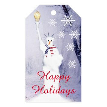 Funny snowman patriotic American Xmas Pack Of Gift Tags