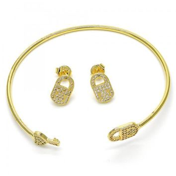 Gold Layered 13.199.0002 Set Bangle, Lock and key Design, with White Micro Pave, Polished Finish, Golden Tone (02 MM Thickness, One size fits all)