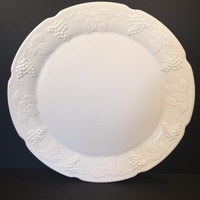 Large Milk Glass 14 inch Harvest Grape Platter/Chop Plate/Serving Platter/Vegetable Tray/Fruit Tray/Large Plate