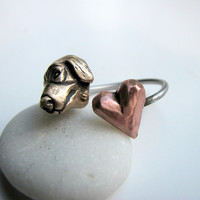 Golden retriever dog love ring