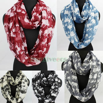 New Stylish Fashion Women Girl's Elephants Print Soft Infinity 2-Loop Cowl Eternity Endless Circle Casual Scarf = 1958305476