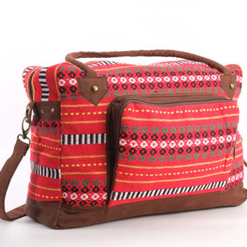 Red Weekender Bag, Overnight Bag, Getaway Bag, College Bag, Boho, Traditional Style