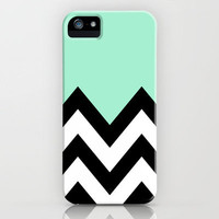MINT GREEN COLORBLOCK CHEVRON iPhone Case by nataliesales | Society6