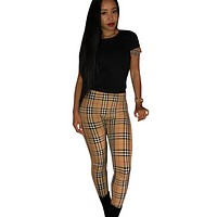 Burberry Fashion New Plaid Sports Leisure Straps Top And Pants Two Piece Suit Women