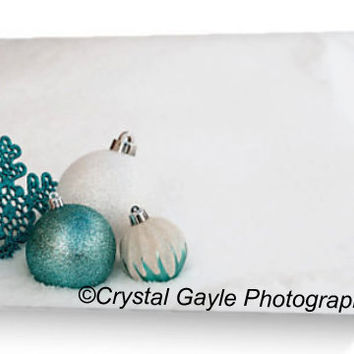 "Company Greeting Cards ~ Christmas Ornaments ~ 4.25""x5.5"" or 5""x7"", New Years Eve Party Invitations, Turquoise Note Cards, Winter White Snow"