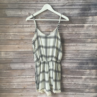Grid Lock Lace Trim Romper