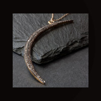 Pavé DIamond Crescent Moon Necklace (large)