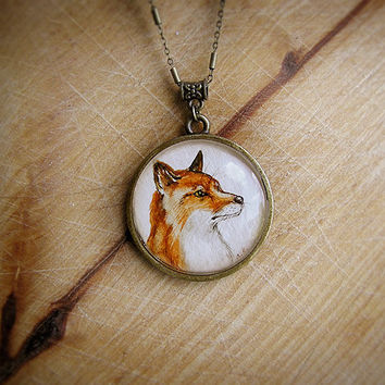 Animal Necklace Red Fox Portrait bronze watercolor original hand painting, for fox lovers, brown orange and white, vintage style jewelry