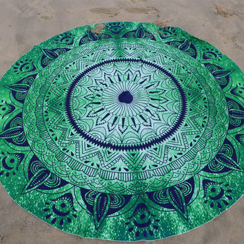 Summer Round Beach Towel Bohemian 100% Cotton Fabric Beach Towels Printed Cushion Yoga Mat Mandala best gift