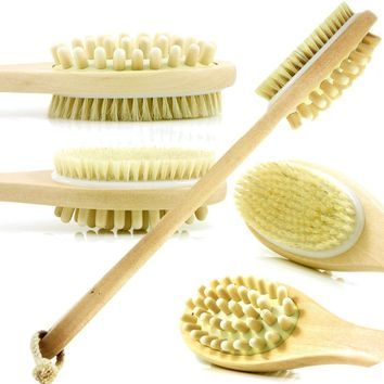 Dual Head DRY Body Brush Wood Long Handle For Smoother Skin