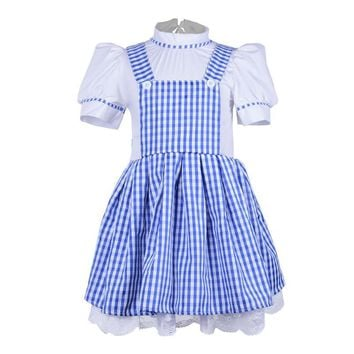 Cool halloween party cosplay kid girl children  maid Wizard of OZ Dorothy princess dress costume 90cm-155cm height children .AT_93_12