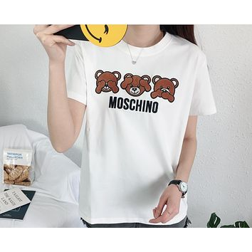 MOSCHINO 2018 summer new three bear patch embroidered cotton round neck short sleeve White