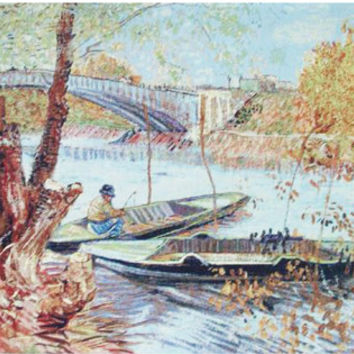 Van Gogh's Fishing in the Spring Tapestry Wall Hanging