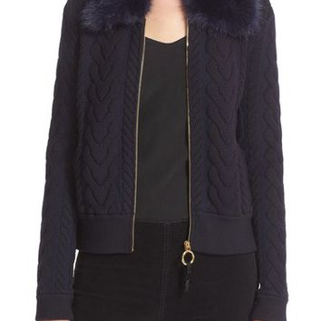 Tory Burch 'Contraire' Faux Fur Collar Cable Knit Sweater Jacket | Nordstrom
