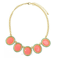 Lenora Falls Coral Jeweled Necklace