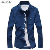 Free Shipping 2016 Mens Dress Shirts Corduroy Casual Slim Fit Brand Long Sleeve Shirts Pure Color Cotton Shirt 16 Color Size:5XL