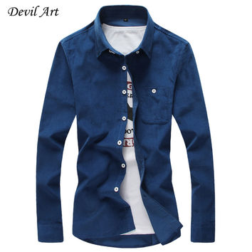 Corduroy Slim Fit Long Sleeve Shirts