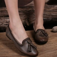 Handmade Soft Leather Loafers With Fringing., Oxford Women Flat Shoes, Retro Leather Shoes, leather Slip-Ons, Designer Shoes Women Natural