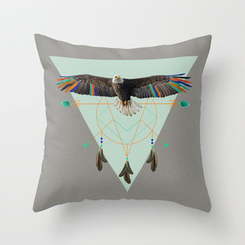 The indian eagle is watching over Po's dreamcatcher Throw Pillow by AmDuf