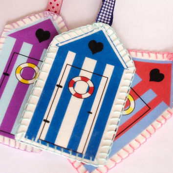 Bookmark beach hut Nautical embroidery blue white stripe