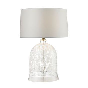 D2728 Landscape Painted Bell Glass Table Lamp in Clear and White - Free Shipping!