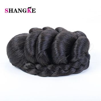 SHANGKE Braided Clip In Hair Bun Women Chignons  Ponytail Hairpieces Synthetic Hair Clips In Hair Extensions