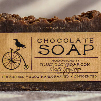 Chocolate Soap - Rustic Soap,All Natural Soap, Handmade Soap, natural chocolate , Homemade Soap, Unscented Soap.