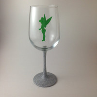 Tinkerbell, Tinkerbell wine glass, stemless wine glass, glitter