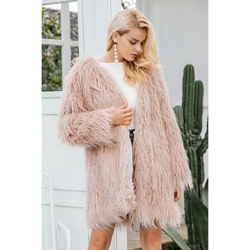 Faux Fur Mohair Winter Coat
