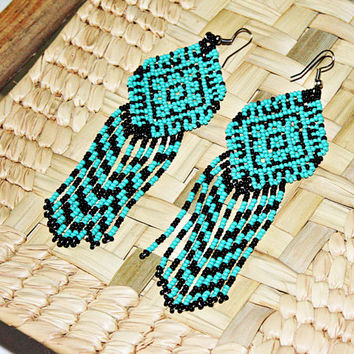 Turquoise Dangle Earrings, Beaded Huichol Earrings, Native American Indian Dangle Earrings, Hippie Earrings, Ethnic Earrings with Fringe
