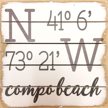 Weathered Coastal Plank Board Sign with Coordinates for Compo Beach, Westport, CT