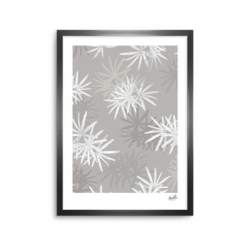 "Julia Grifol ""White Paradise Flowers"" White Gray Digital Framed Art Print"