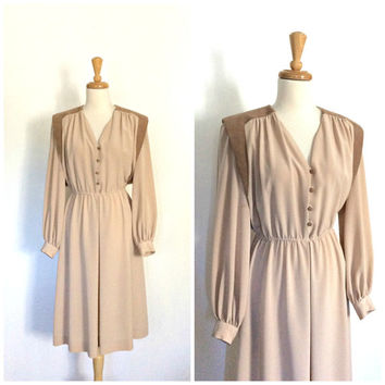 Vintage Lilli Ann Dress - 70s dress - shirtwaist - two tone - 40s style - swing dress - courthouse wedding - Medium